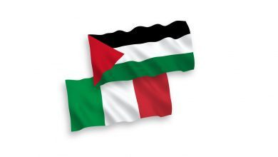 flags italy and palestine on a white background vector 30216291